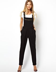 dc3f2f95ece Image 1 of ASOS Jumpsuit With Zip Detail Black Overalls Outfit