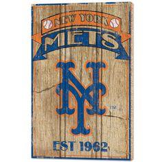 """New York Mets 15""""x24"""" Est 1962 Wooden Sign"""