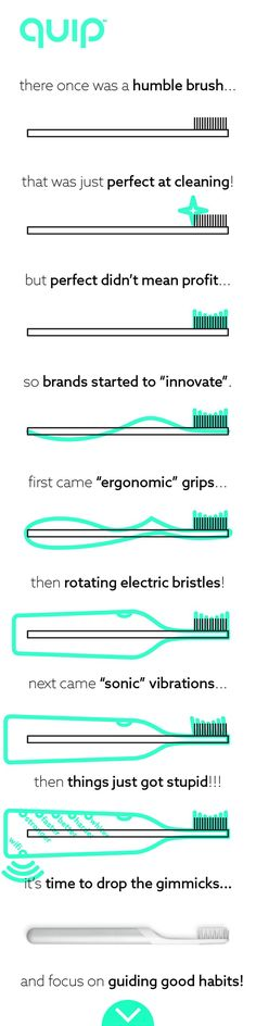 """There once was a humble toothbrush, quite perfect at cleaning! But there was a problem: People weren't perfect using it and profits weren't high selling it! Brands had a choice, help people improve brushing, or help profits """"improving"""" brushes! Above is what happened next! This """"feature focus"""" is damaging. Features don't matter, how you use them does, yet 90% of us skip the basics! That's why we created quip! An electric toothbrush that removes gimmicks, to focus on good habits, from only…"""