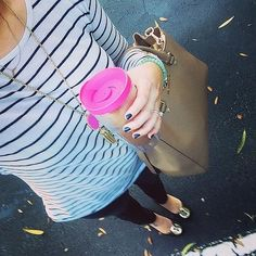 Pop of pink and stripes. Happy Thursday. #styleinspiration #ootd #whatiwore…