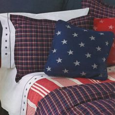 Traditions by Pamela Kline All American Duvet and Pillow Shams Photo Pillow Shams, Duvet, Bed Pillows, Pillow Cases, Bedding, Airplane Room, Accent Pillows, Traditional, American