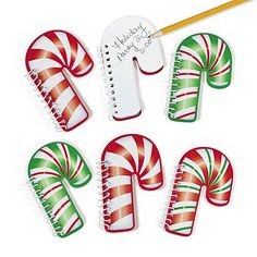 Candy Cane Spiral Notepad 12ct