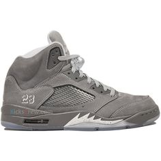 outlet store 0e886 50627 Kicks-Crew   Nike Air Jordan 5 Retro Wolf Grey 136027-005 ❤ liked on  Polyvore featuring shoes, jordans and sneakers