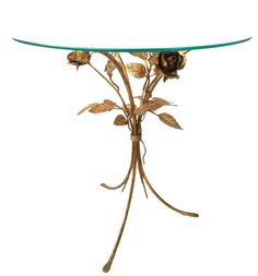 Vintage Italian Tole Rose Table -  Hollywood Regency Gold Leaf End Table - Gold Gilt Tole Floral Glass Top Cocktail Table - Italian Toleware