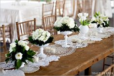 doilies on tables
