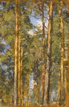 Pine Trees, huile sur panneau de Konstantin Yuon (1875-1958, Russia)
