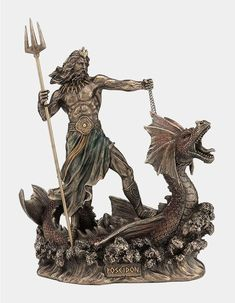Statue Of Poseidon Standing On Hippocampus