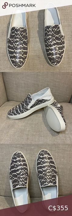 Vince Snake Garvey Sneakers -NWOT Vince Slip on Sneakers with pointy toe -Grey and White Snake printed leather (please note: stock photo is black and white version) -Size Vince Shoes Sneakers Shoes Sneakers, Plus Fashion, Fashion Tips, Fashion Trends, Snake Print, Espadrilles, Toe, Printed