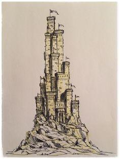 Castle Sketch, Castle Drawing, City Drawing, Fantasy Concept Art, Fantasy Artwork, Landscape Drawings, Art Drawings, Landscapes, Castle Cartoon