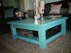 Coffee Table Discover The Meaning Of Your Coffee Table Color for size 1280 X 960 Teal Blue Side Table - It would take a couple of minutes to build 1 cabine Coffee Table Design, Decorating Coffee Tables, Furniture Makeover, Furniture Decor, Blue Side Table, Blue Coffee Tables, Tiffany Blue, Teal Blue, Favorite Color