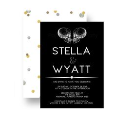 Skull Wedding Invitations are such a unique choice for the Gothic theme wedding. The bewitching invites feature x-ray skulls and modern lettering. Chic & sleek all in one. This stylish wedding invite is perfect for a variety of wedding themes mixed with some humor. Great for a fall ceremony, traditional or mod theme celebration. Mod Skull Wedding Invitation Details • Bewitching theme invitations • Black and white design • Halloween, steampunk, Gothic, casual or formal wedding theme • Prin...