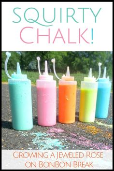 Save money on sidewalk chalk with this simple DIY Squirty Chalk recipe. Your kids will love it!