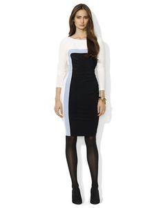 LAUREN RALPH LAUREN Tri Tone Jersey Dress - BLACK/WHITE - 14 - Fashion