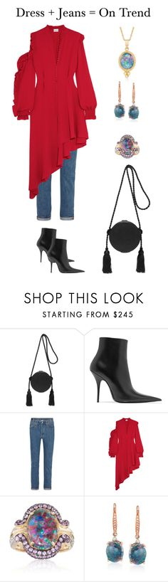 """""""Dress + Jeans = On Trend"""" by karen-galves on Polyvore featuring Hillier Bartley, Balenciaga, Vetements, Magda Butrym and Ross-Simons"""