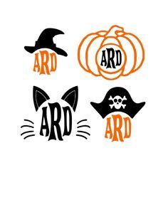 Halloween Witch Pumpkin Cat Pirate Monogrammed Vinyl Decals by itrendyboutique on Etsy