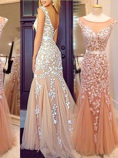 Buy Glamorous Mermaid Bateau Tulle Floor Length Champagne Cocktail/Prom Dress With Appliques 2016 Prom Dresses under US$ 169.99 only in SimpleDress.