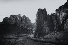 """"""" River and Rock bw"""". This is Smith Rock State Park. I named the image Rock from Ash because essentially that is what Smith Rock is. About 30 million or so years ago there was a caldera formed by an overlying rock crashing into a lava pit and creating rock and ash debris which filled the pit. This is called a uff. Material hardened into rock and then was covered by a basalt lava flow from a nearby volcano about half a million years ago. The tuff has been carved through by the river and..."""