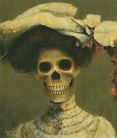 "Saatchi Online Artist Michael Thomas; Painting, ""Edwina The Edwardian Skeleton Lady"" #art"