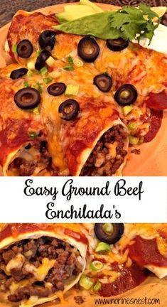 Easy Ground Beef Enchiladas Norine S Nest Recipe Easy Beef Enchiladas Ground Beef Enchiladas Mexican Food Recipes