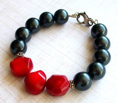 Glass Pearl Red Coral Sterling Silver  Bracelet  by JustBeCreative, $32.00