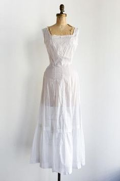 Edwardian White Cotton Dress - XS/S