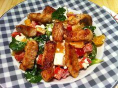Der low carb Frischkäse Salat mit Putenbruststreifen