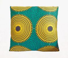 Green & Yellow Circle Abstract African Print Cushion Throw Pillow Cover 16x16 or 18x18 inches by BrookandEnvy on Etsy https://www.etsy.com/uk/listing/184212435/green-yellow-circle-abstract-african