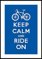 Keep Calm And Ride On - Mountain Bike - Blue Framed Print by Andi Bird