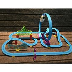 track racer racing car rail car electric track battery powered diy toy set for kids