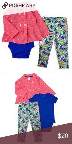 NEW~ Carter's Girls 3 Pc Infant Outfit Set CARTER'S 3 Piece Outfit  Condition: New with tags Size: 18 Months Color: Pink & Purple Product Detail:  3 Piece Set Includes: Polka dot coat, long-sleeved 4 button Short sleeve envelope neck bodysuit, inseam snap buttons Floral Pants, elastic band waist Carter's Matching Sets