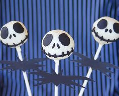 """Jack Skellington Cake Pops: All hail the Pumpkin King! Jack Skellington, from Tim Burton's The Nightmare Before Christmas, is the """"Pumpkin King"""" of Halloween Town — and he'll be the king of your Halloween bash with these boo-tiful Skellington cake pops.  Source: The Sugar Turntable"""