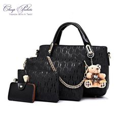 f8d53ed4e3f6a 4 pc Designer Bag Set  black  onsale Tas Kulit
