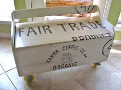 From Toy Box to Funky, Industrial, Shipping Crate Bench Inspired by a T-Shirt Design Hand Painted Dressers, Hand Painted Furniture, Funky Furniture, Repurposed Furniture, Vintage Furniture, Bench Furniture, Furniture Ideas, Homemade Furniture, Furniture Refinishing