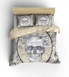 Sugar Skull Bedding  Comforter COVER  Duvet by FolkandFunky