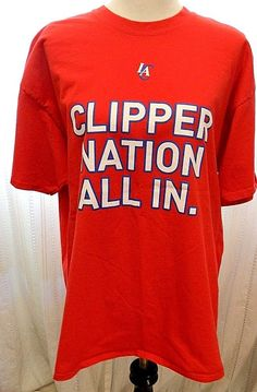 Mens LA Clippers NBA Tshirt Clipper Nation All In 100% Cotton Red Size XL #PortCompany #GraphicTee