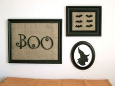 Halloween decor - Upcylce thrifted frames and fabric (from garments or housewares) to make these fun pieces of art.  Find free printables online to create the silhouettes.