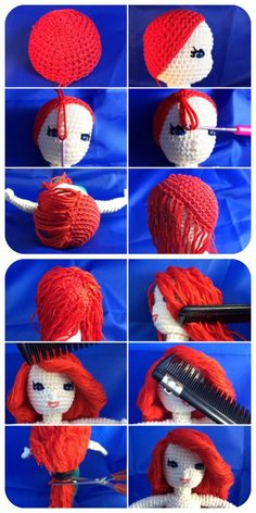Foto-Tutorial wig for crochet dolls inspired by Ariel, the little mermaid.