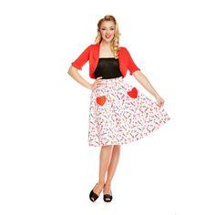 'Bernadette' Pink Lipstick Print Swing Skirt