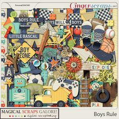 Boys Rule by Magical Scraps Galore is a fun collection created for those adorable rascals that melt our hearts, no girls allowed!    In bright boyish colors and overflowing with custom drawn elements, this collection covers everything from bikes to robots, building blocks and skateboards, tree houses and game controllers, among many other fun goodies and patterns.