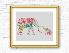 BOGO FREE Elephant Cross Stitch Pattern Floral Baby Elephant