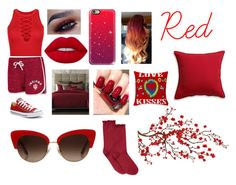 """""""Red"""" by anneamiejole ❤ liked on Polyvore featuring WithChic, Campus Heritage, Converse, Lime Crime, Casetify, Hotel Collection, Crate and Barrel, Corita Rose, Brewster Home Fashions and Dolce&Gabbana"""