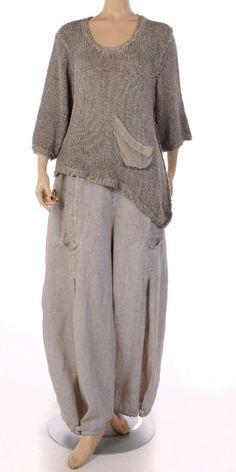 "Barbara Speer Natural ""Old Dye"" Linen Tulip Trouser. Great hem detail."