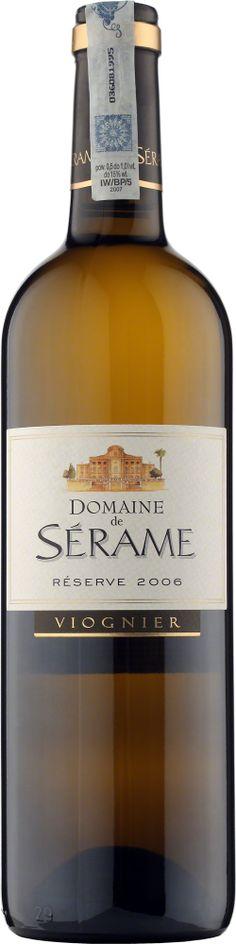 Domaine de Serame Viognier Reserve Vin de Pays d'Oc Bardzo bogate i eleganckie Viognier z południa Francji. Wyczuwalne owoce cytrusowe oraz nuty trawy i białych kwiatów. #Winezja #Langwedocja #Viognier #Wino Saint Chinian, Bottle, Flask, Jars