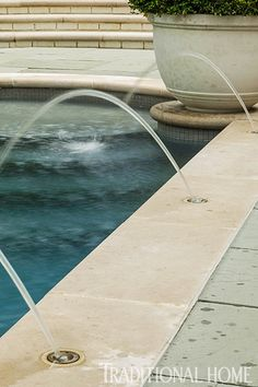 Water jets can be turned on when no one is swimming, turning the pool into a relaxing water feature.
