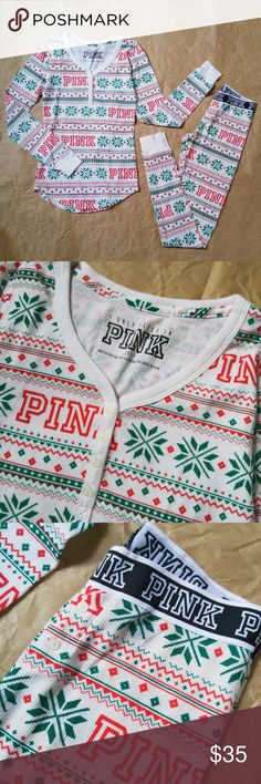 PINK Christmas Pajama Set Brand new without tags. Come with a Victoria Secret gift box. Tight fit, see last pic for fitting reference. PINK Victoria's Secret Intimates & Sleepwear Pajamas