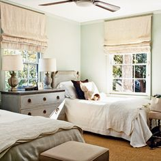 love this neutral shared bedroom - lamps, headboards and dresser are all great individually too