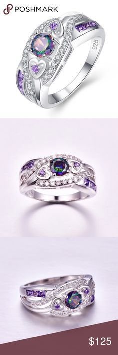 Mystic topaz and amethyst ring Mystic topaz and amethyst ring in 925 stamped silver (lab). Jewelry Rings