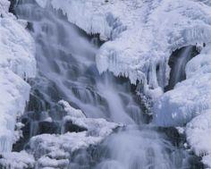 A frozen waterfall in Hokkaido, Japan