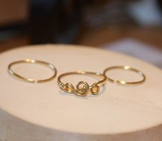 Treble Clef Ring Set - Music Note Ring - Yellow Brass or Copper Music Note Ring - Thin Ring - Handmade by BirchBarkDesign on Etsy