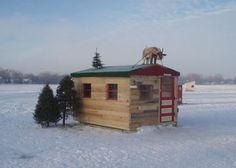 Nordic immersion ice fishing shed